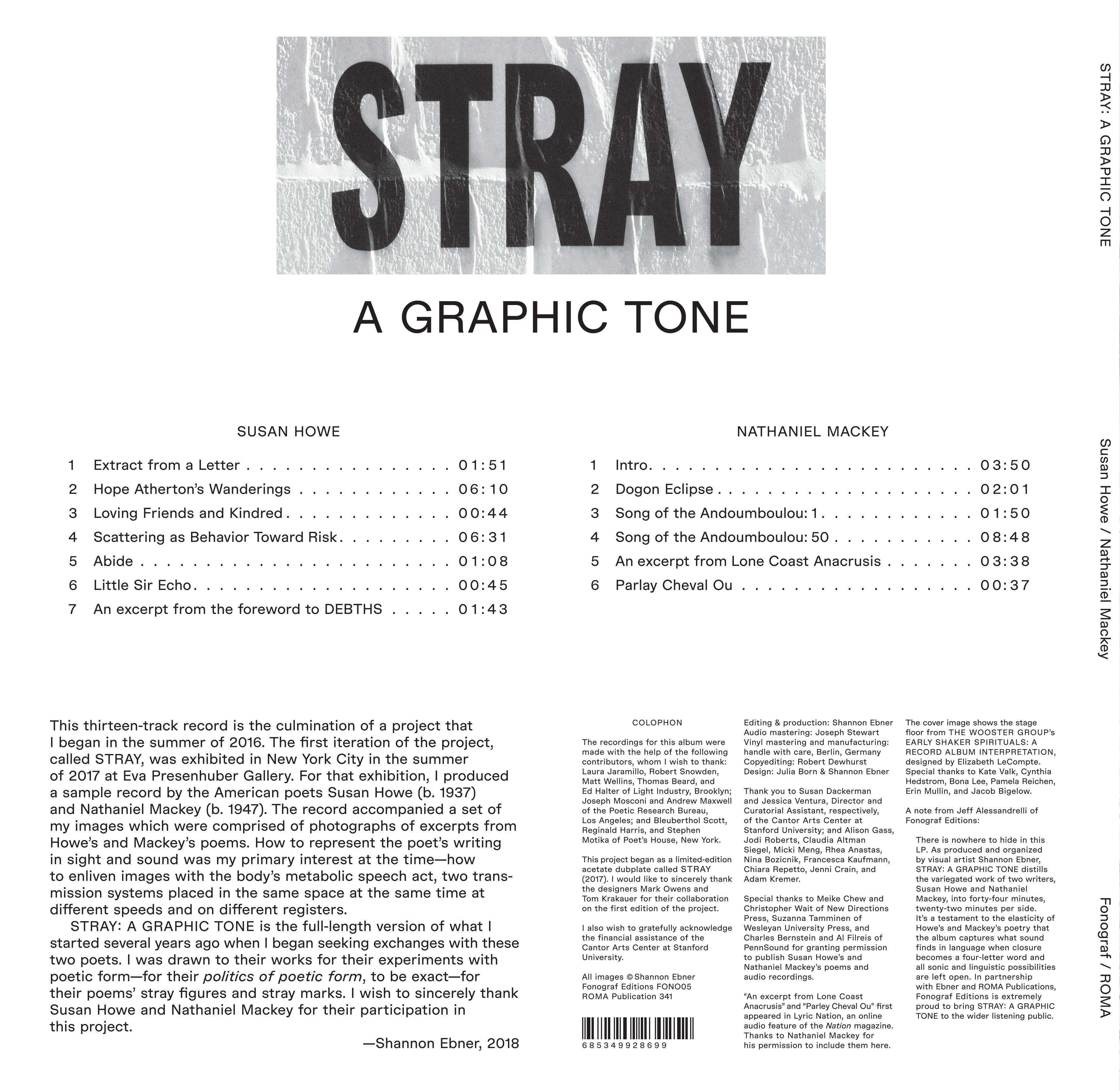 FONO5// Susan Howe & Nathaniel Mackey — Stray: A Graphic Tone